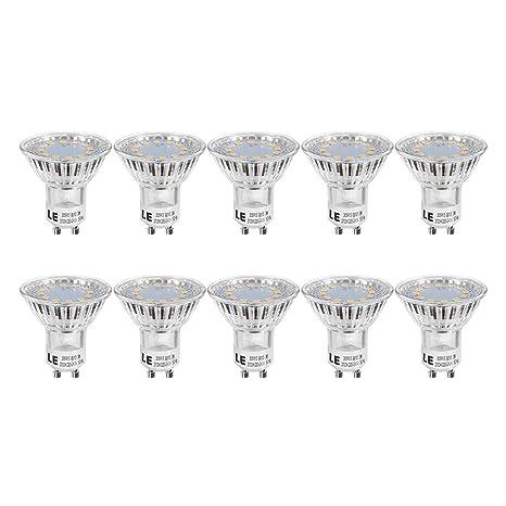 LE Bombillas LED, GU10 3W Equivalente a 35W Halógena Blanco cálido luz de día, 2700K Bajo Consumo, Pack de 10