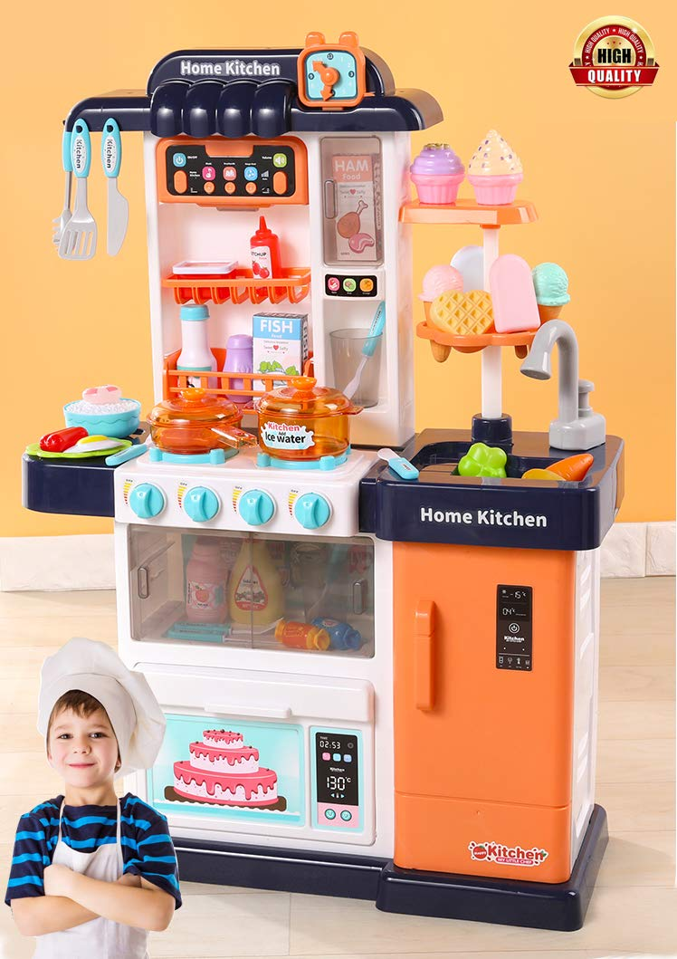 Kitchen Toys Playset, Kids Play Kitchen with Realistic Lights & Sounds,Simulation of Spray, Play Sink with Running Water,Dessert Shelf Toy & Other Accessories for Girls Boys blue(21*9*30 inch)