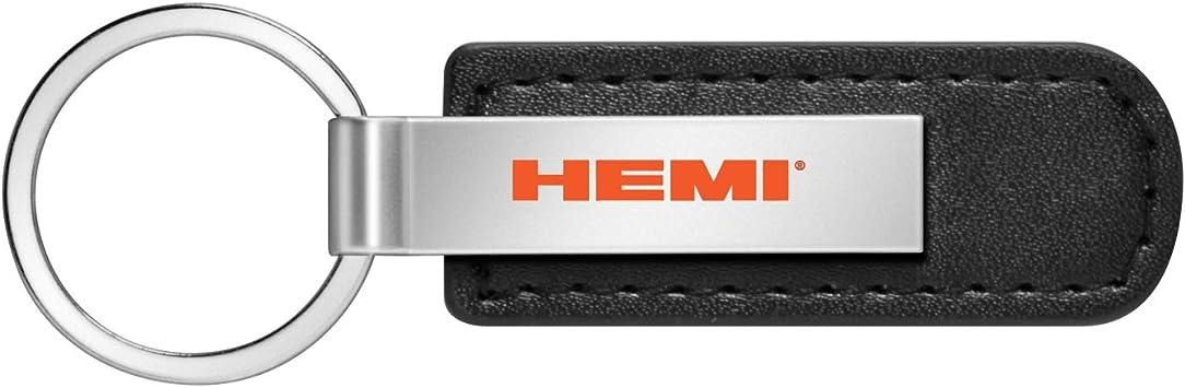 HEMI Logo in Color Rectangular Black Leather Key Chain Key-Ring for Dodge Challenger Charger SRT Jeep RAM iPick Image