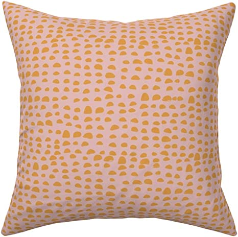 Amazon Com Roostery Throw Pillow Pebbles Stones Rocks Spots Polka Dots Pink And Yellow Bumps Print Velvet Knife Edge Accent Pillow 18in X 18in With Insert Home Kitchen