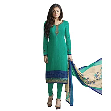 93c164e0f9 Touch Trends Green Silky Crepe Dress Materiall | Designer Salwar Kameez |  Free Size Unstitched Dress