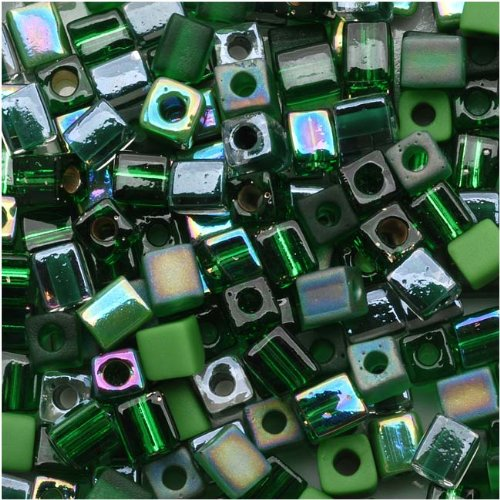 - Miyuki 10gm Glass Cube Bead Mix, 4mm, Green Medley