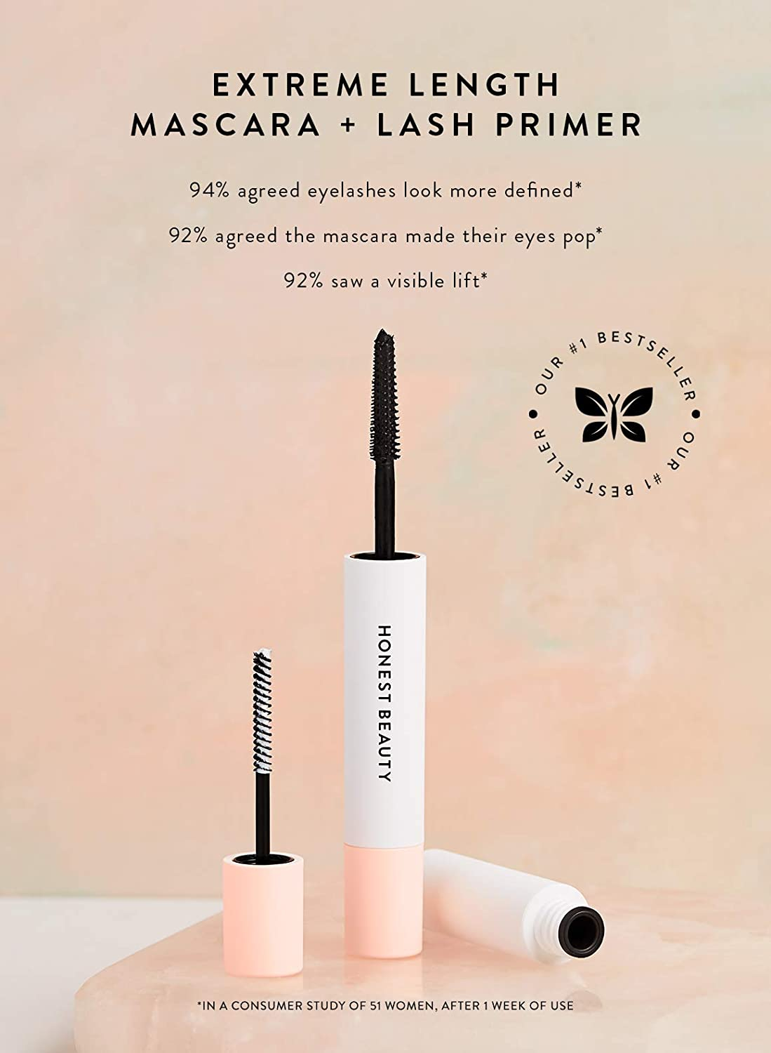 cac525e9632 Amazon.com : Honest Beauty Extreme Length Mascara + Lash Primer | 2-in-1  Boosts Lash Length, Volume & Definition | Silicone Free, Paraben Free, ...