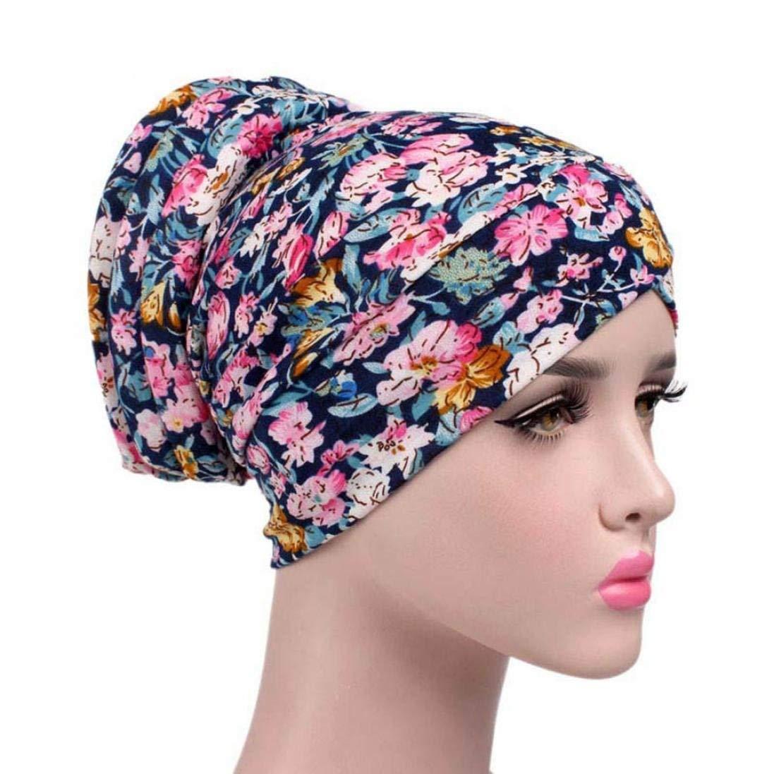0841eee99 Hunputa Womens Hat Winter Chemo Cap Womens Soft Printed Beanie Sleep ...