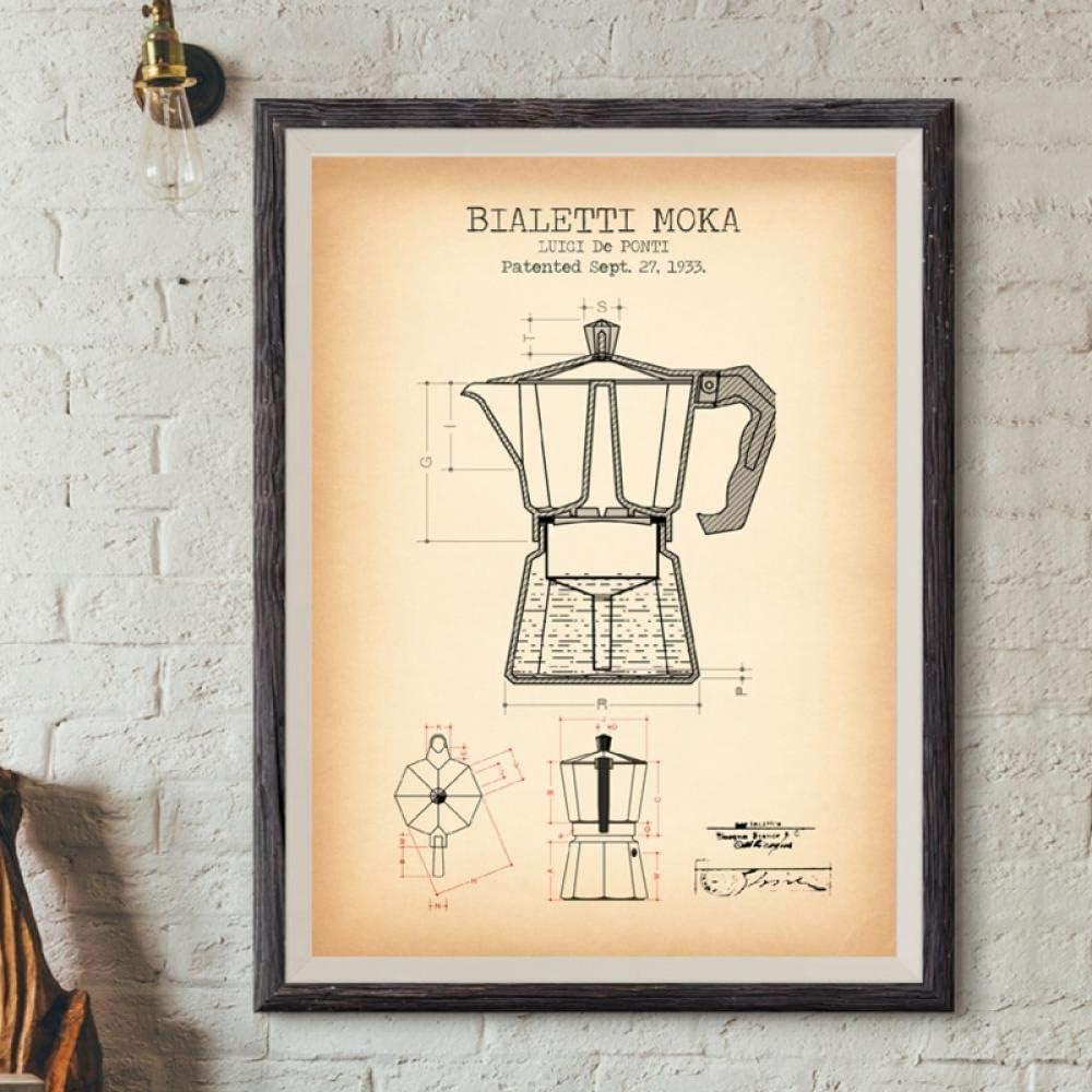 LLXHG Cafetera Patentes Carteles E Impresiones Bialetti Moka Cartel Café Blueprint Art Picture Lienzo Pintura Cocina Arte De La Pared Decoración E-50X70Cm Sin Marco: Amazon.es: Hogar