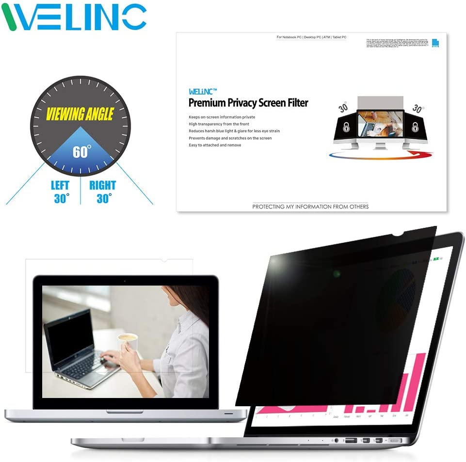 "WELINC 17.3 Inch - 16:9 Aspect Ratio - Laptop Privacy Screen Filter for Widescreen Laptop - Notebook - Anti-Glare - Anti-Scratch Protector Film - We Offer 2 Different 17"" Filter Sizes"