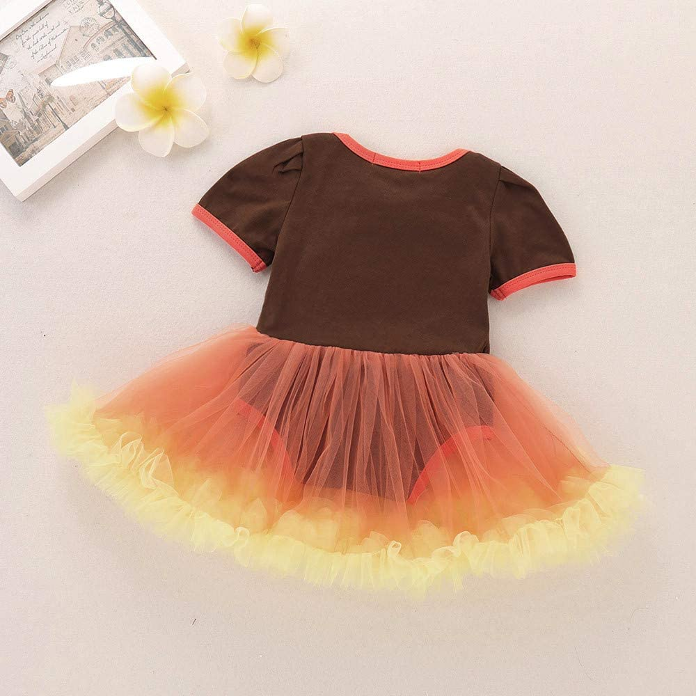 KONFA Toddler Newborn Baby Girls Cartoon Turkey Dress Romper,Little Princess Thanksgiving Day Skirt Costumes Set