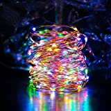 String lights 33ft 100 LEDs, Furnizone Dimmable Colorful Twinkle Light Wire Copper Light with Remote Control Battery Operated for Outdoor Lawn Bedroom Wedding Party Decoration Multicolor LEDs