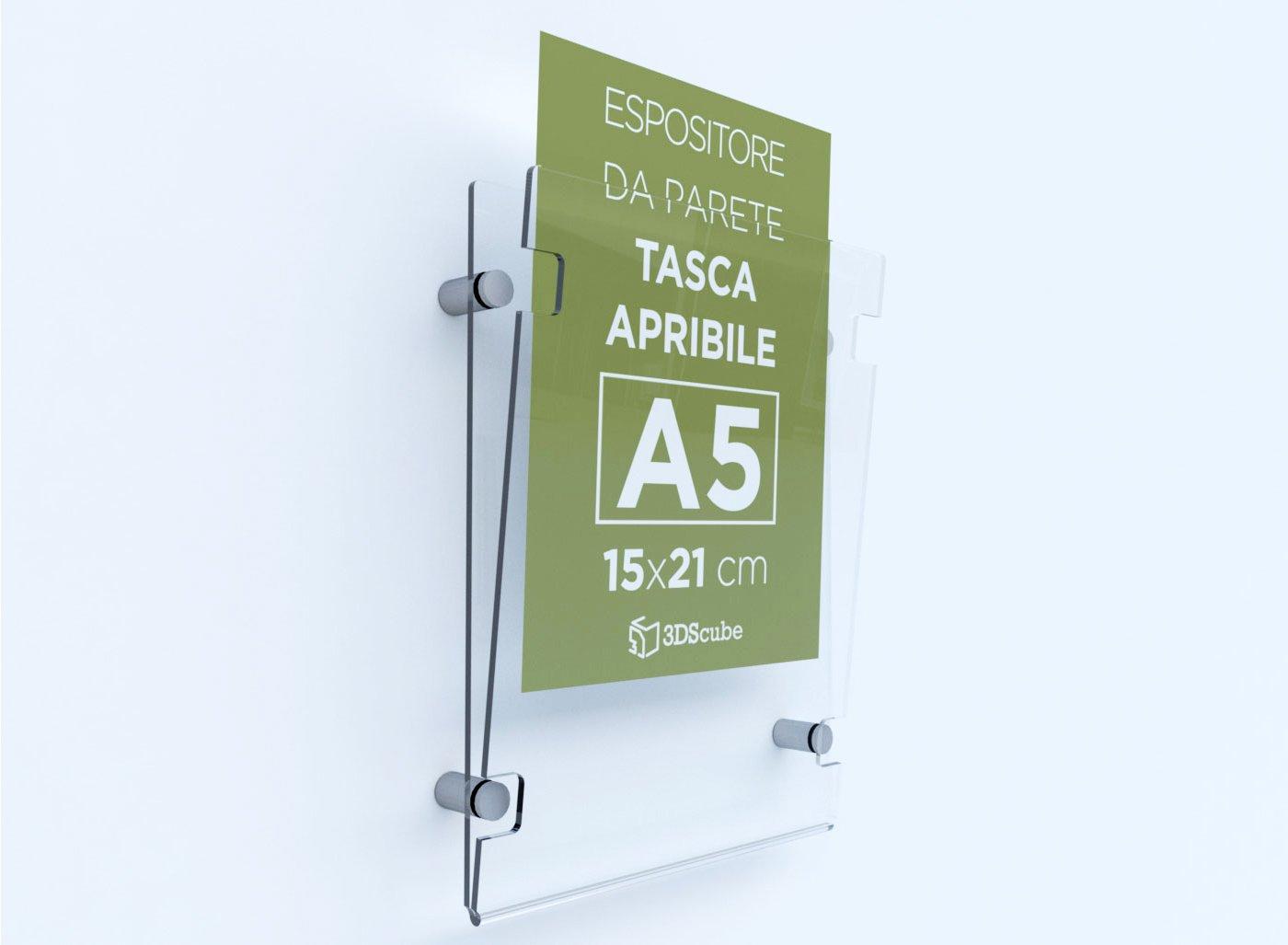porta avvisi e depliant formato A5 verticale 15/×21 cm Espositore in plexiglass di ALTISSIMA qualit/à da parete targa a tasca apribile in plexiglass completa di distanziali in alluminio spazzolato