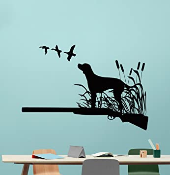Ordinaire Hunter Wall Decal Duck Hunting Shotgun Wild Bird Hunting Wall Sticker  Hunting Dog Vinyl Sticker Living