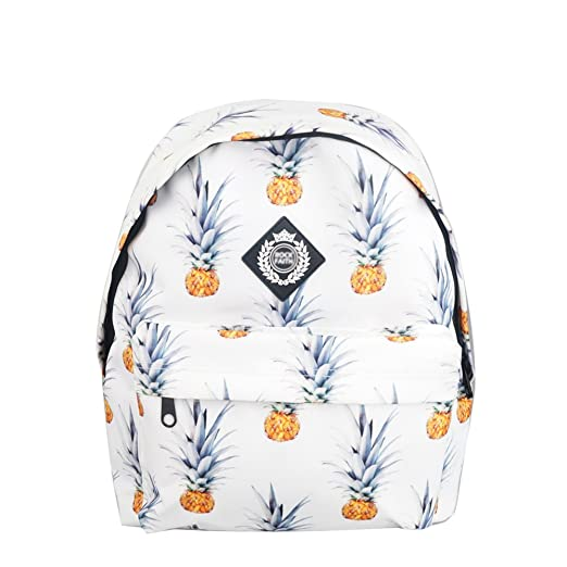 D.Catman Fashion Fruit Pineapple Printing Satchel Waterproof Campus Backpack (White)