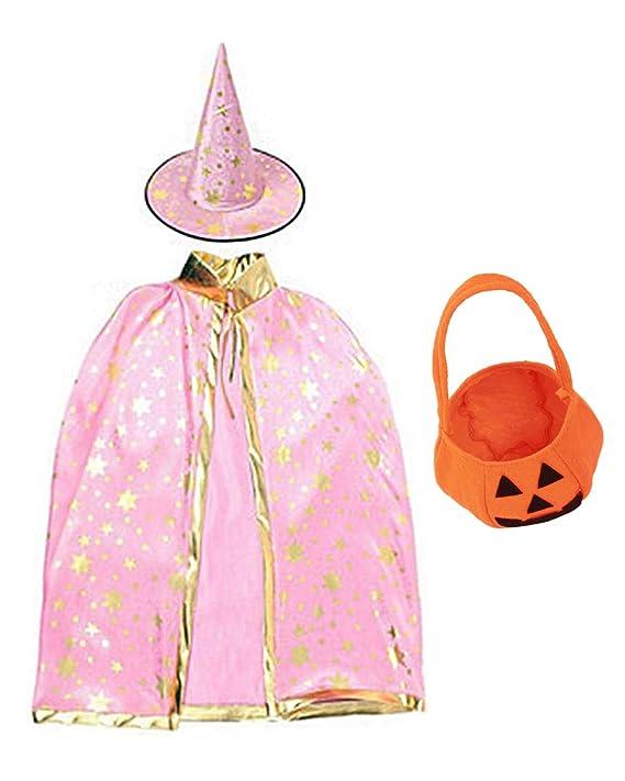 LEHNO Halloween Costumes Witch Wizard Cloak with Hat,Pumpkin for Kids Children Boys Girls Halloween Props Set (Pink Set +Pumpkin, for Height 100-160cm)