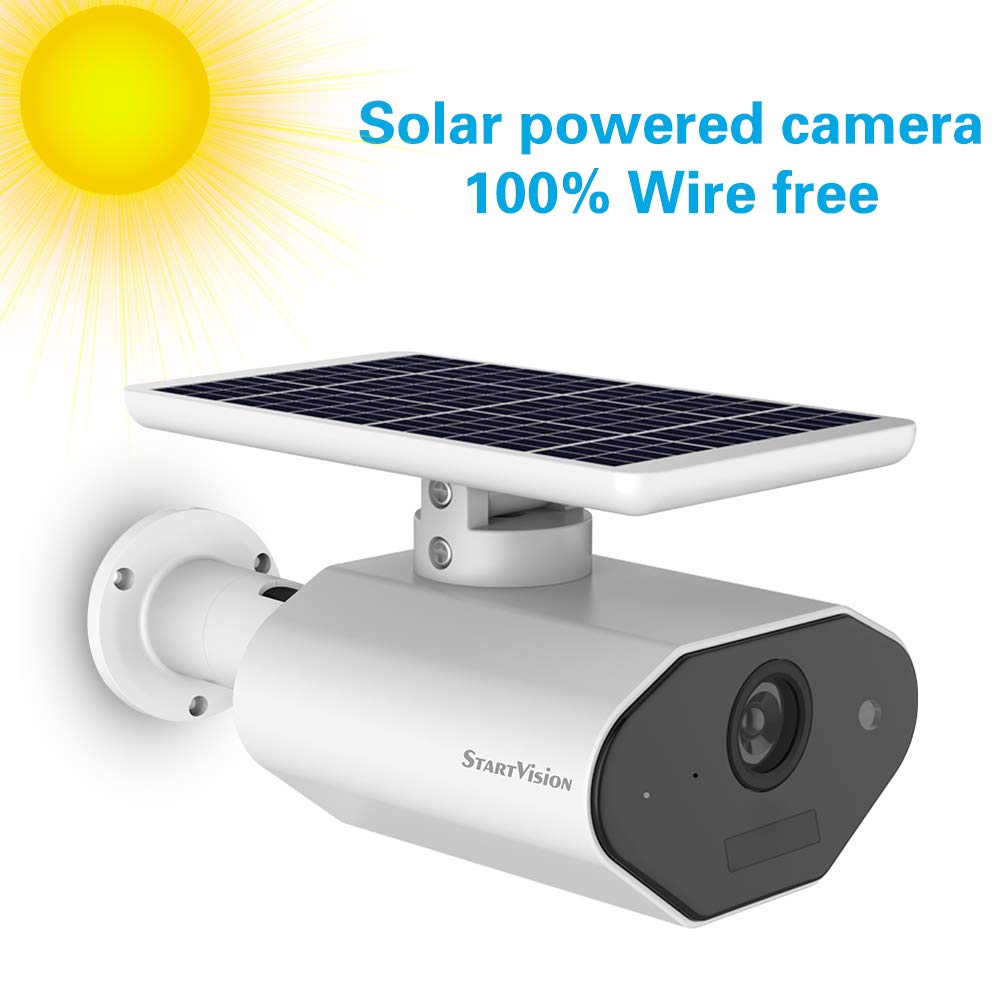 StartVision Solar Powered Wireless Home Security Camera, Outdoor 2.4GHz Wifi IP Camera with Motion Detection Night Vision, Wire-free Surveillance Camera Built in Battery, IP65 Waterproof Weatherproof by StartVision