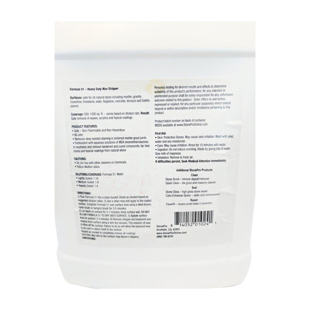 Piedra Pro fórmula 51 pelacables quitamanchas concentrado Heavy Duty cera pelacables - 1 Gallon: Amazon.es: Bricolaje y herramientas