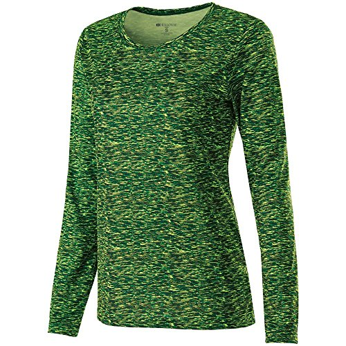 Manga larga de la mujer espacio Dye camiseta Holloway Sportswear Verde