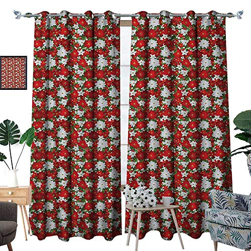 Warm Family Christmas Window Curtain Drape Poinsettia Flower Holly and Mistletoe in Natural Traditional Combination Decorative Curtains for Living Room W96 x L108 White Red Green