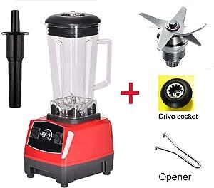 2200W Heavy Duty Professional Blender Mixer Juicer High Power Fruit Food Processor Ice Smoothie,Red bladedrivetool,UK Plug