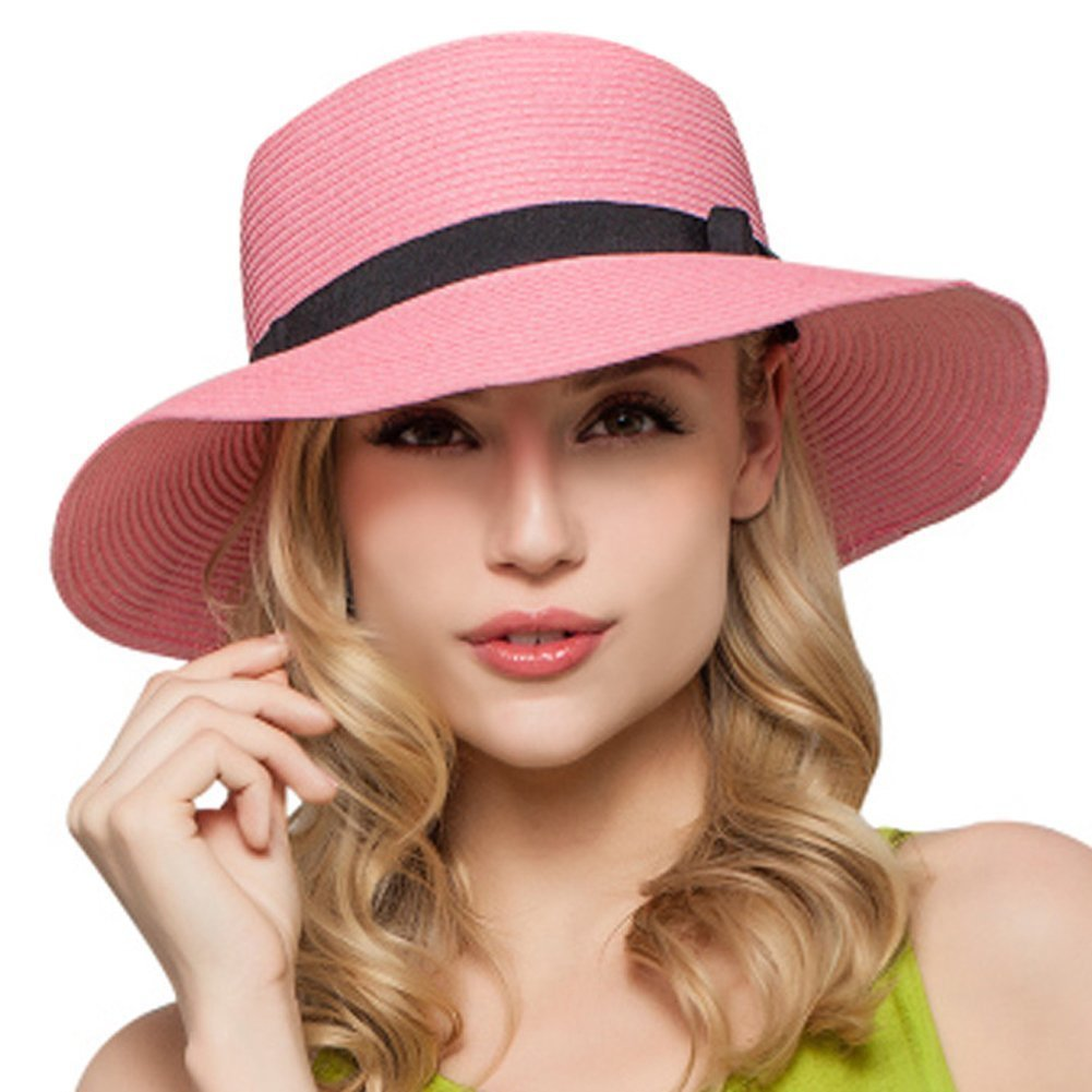 Fletion Donna superficiale di cappello di paglia spiaggia di sabbia sole  cappelli pieghevole estate sole cappello spiaggia cappello Rosa taglia  unica  ... 57d862586eb4