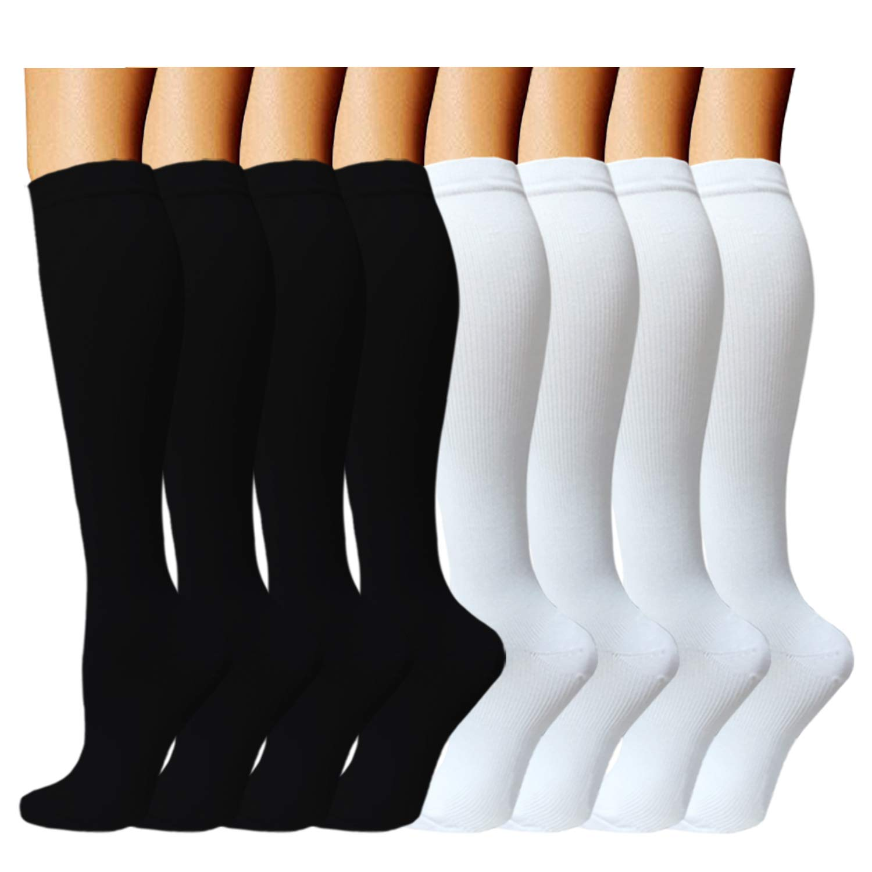 ACTINPUT 8 Pairs Compression Socks Women & Men -Best Medical,Nursing,Travel & Flight Socks-Running & Fitness,Pregnancy-15-20mmHg (L/XL, Assorted 1)