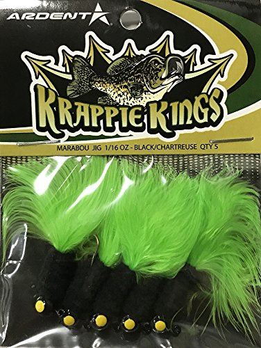 Krappie Kings Crappie/Panfish Marabou Jig Head, Black/Chartreuse, 30 Lures, 1/16 (Marabou Crappie Jig)