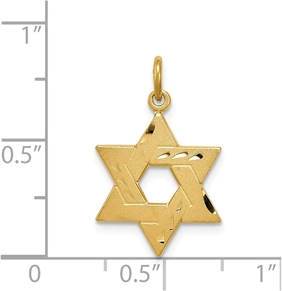 Solid 925 Sterling Silver Yellow Gold-Tone Engraved Jewish Star Pendant Charm