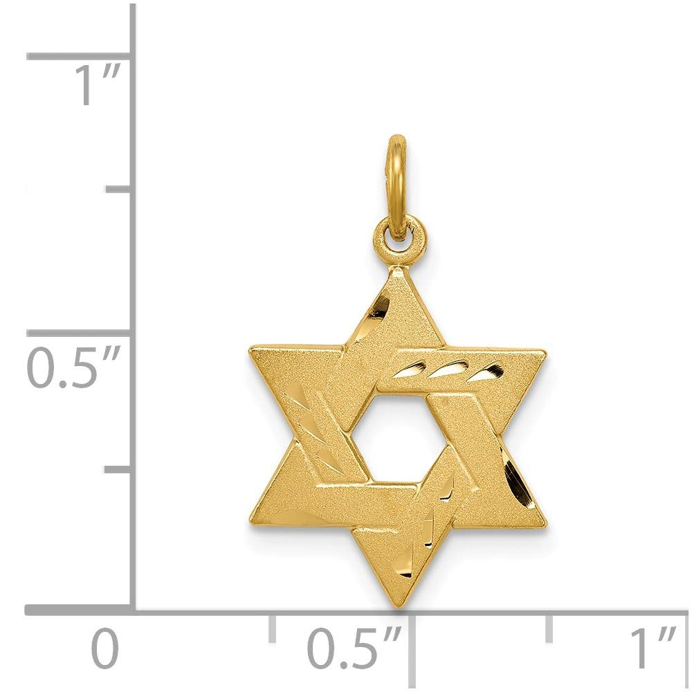 925 Sterling Silver Gold-tone Engraved Jewish Star Charm Pendant