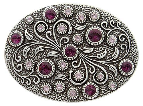 Silver Floral Belt (Hagora Women Vintage Silver Purple Violet Zircons Floral 1.75