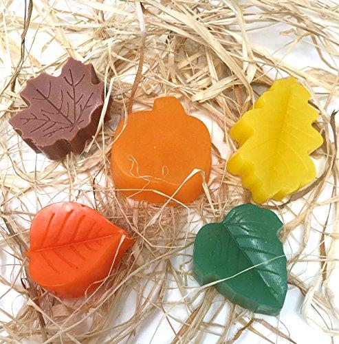 Mini Shea Butter Soap (Fresh Handmade Mini Autumn Leaves All Natural Hand Glycerin Shea Butter Soap 5 Bars)