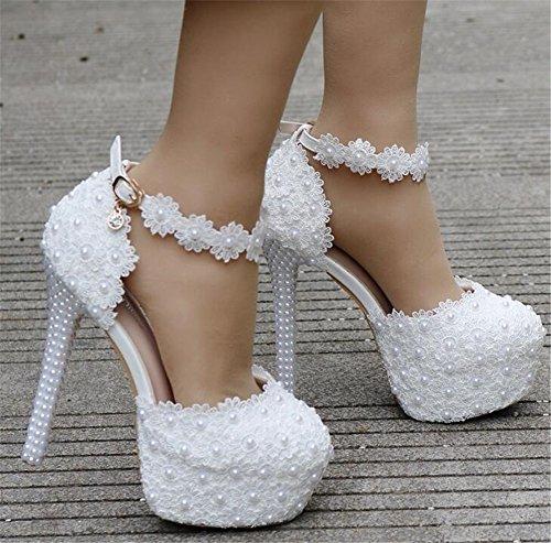 Perla De Tac Del Encaje Plataforma Tama Mujer Zapatos o Apliques Boda SFOIww