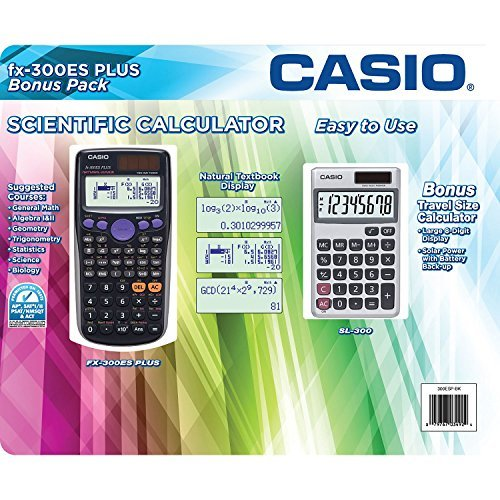 Casio Scientific Calculator FX-300ES Plus with Bonus Calculator, Black
