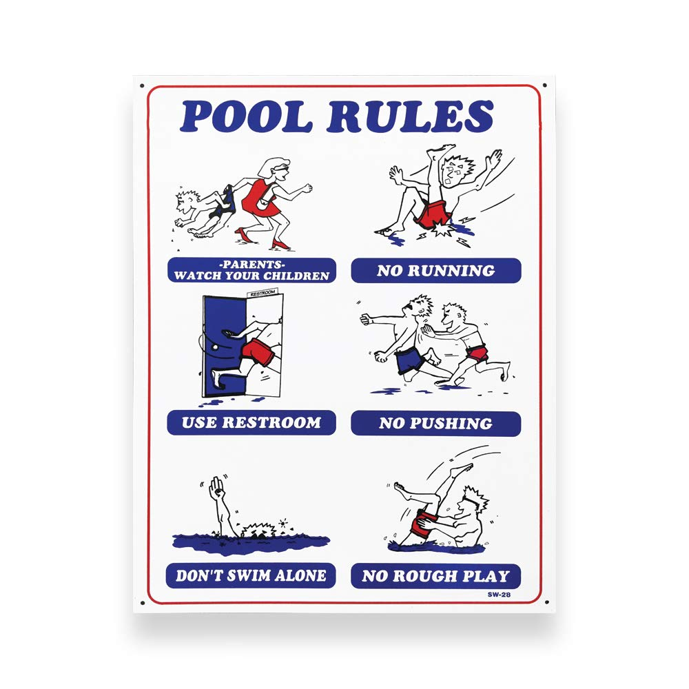 JED Pool Tools 90-100 Pool Rules for Swimming Pool, 18 by 24-Inch Jed Pool Tools inc.