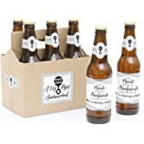 Parents to Grandparents - 6 Pregnancy Announcement Beer Bottle Labels with 1 Beer Carrier