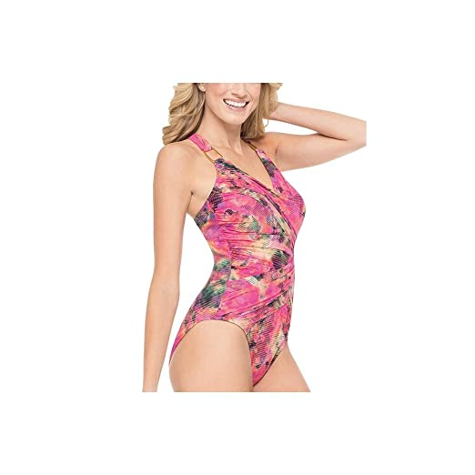 56f08deeb24b9d SPANX 2095 Waistline Draped One Piece Swimsuit Size 16 in Multicoloured