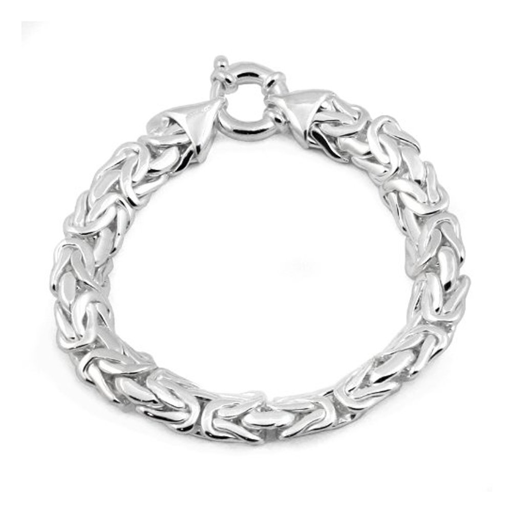 10mm Byzantine Chain Bracelet in Sterling Silver - 8 inches