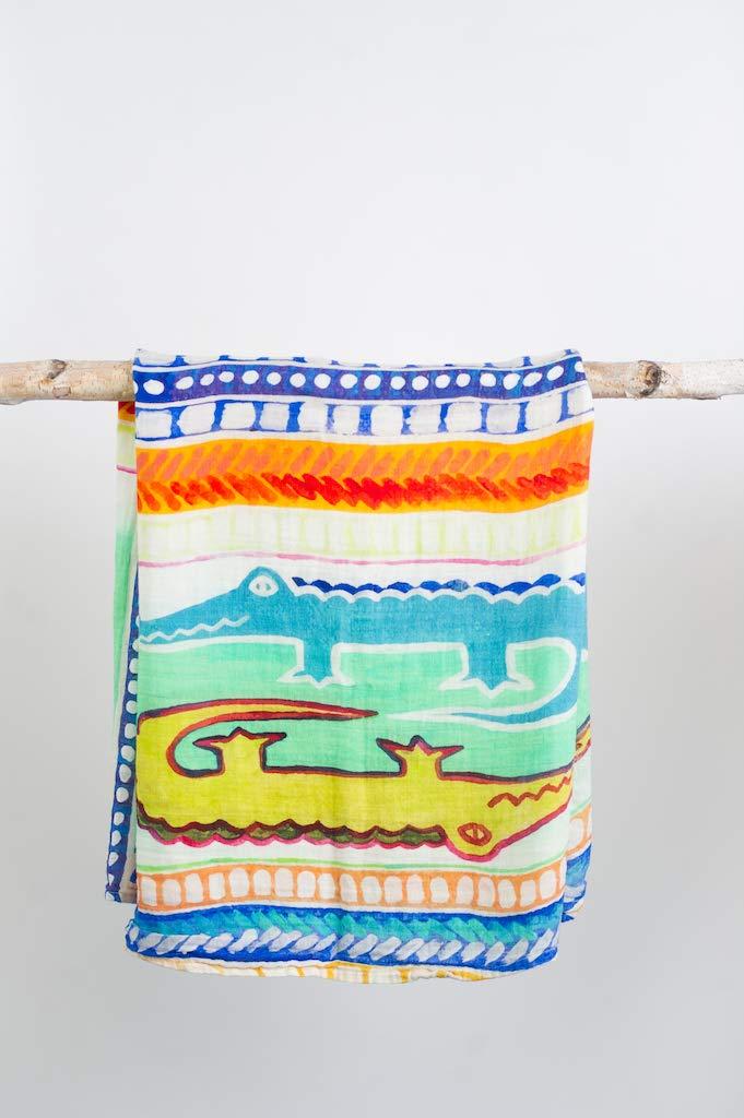 KD HOMETEXTILE Little Remi Premium 100/% Bamboo Muslin Swaddle Blanket Aztec Gator 3 Pack