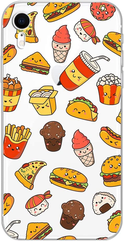 iPhone XR Case,Blingy's New Fun Food Style Transparent Clear Soft TPU Protective Rubber Case Compatible for iPhone XR (Happy Fast Food)