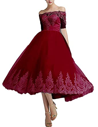 272f20eba08a Monalia Womens's Tea Length Tulle Prom Cocktail Dresses Wedding Party Gowns  Size 2 Burgundy