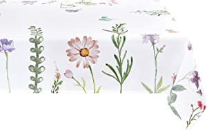 Sunm Boutique Watercolor Spring Flowers Tablecloth, 60 x 120 inch, Machine Washable Waterproof Table Cover for Easter Decor, Dining, Holiday, Parties