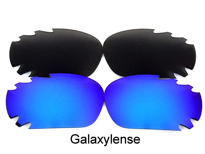 68d3b4b580 Amazon.com  Galaxy Replacement Lenses For Oakley Jawbone Black Blue Color  Polarized 2 Pairs 100% UVAB  Clothing