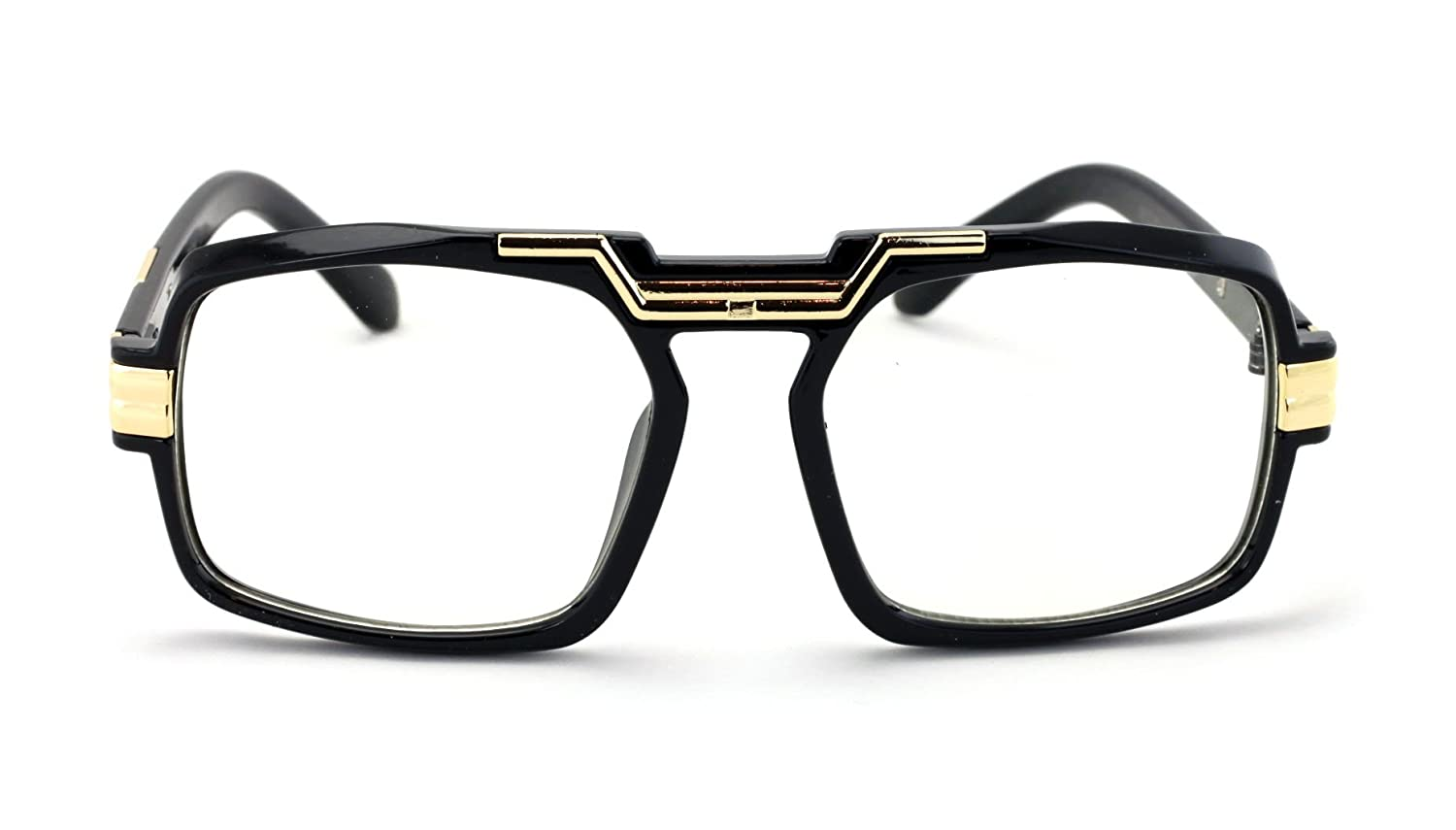 cda56bbcd5f9 Amazon.com  Black Gold Entertainer Hipster Clear Lens Glasses with Metal  Trimming - Nerd Eyewear  Clothing