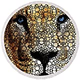 Pixels Round Beach Towel With Tassels featuring ''Stone Rock'd Lion 2 - Sharon Cummings'' by Sharon Cummings