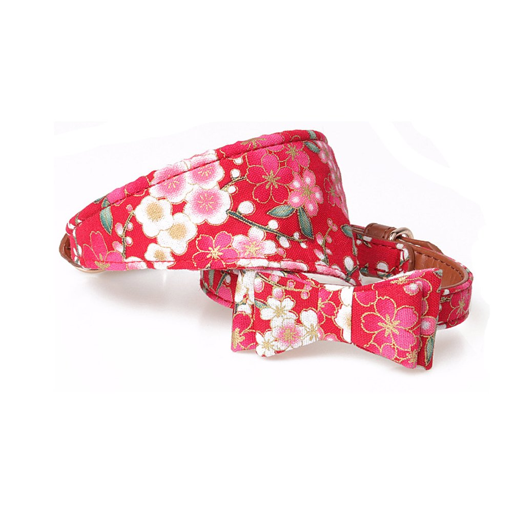 DOWE 2 Pcs Pet Dog Japanese Style Bandana Scarf & Bow Tie (S, Red)