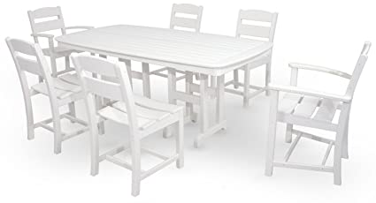 Merveilleux Ivy Terrace IVS108 1 WH Classics 7 Piece Dining Set, White