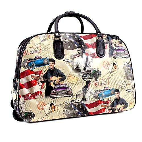 ydezire - bolso de mano para mujer, para viaje corto, Con Ruedas White/Elvis
