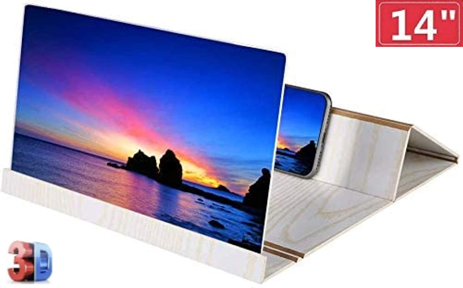 14 inches Wooden Mobile Phone Screen Magnifier, 3D HD Smart Phone Screen Amplifier Projector Movie Video Enlarger with Foldable Holder Stand for All Smart Phone-White