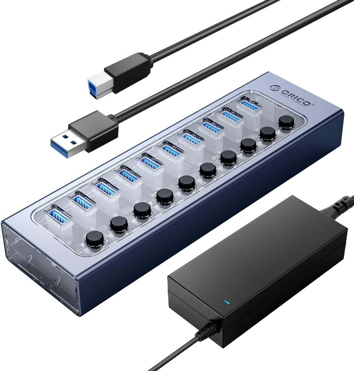 ORICO USB Hub 3.0 Powered 10 Ports USB Data Hub with 12V4A Power Adapter, Individual Power Switches, and LEDs, Extra USB Ports for Devices Such as Xbox One PS4 Mac PC Laptop Desktop