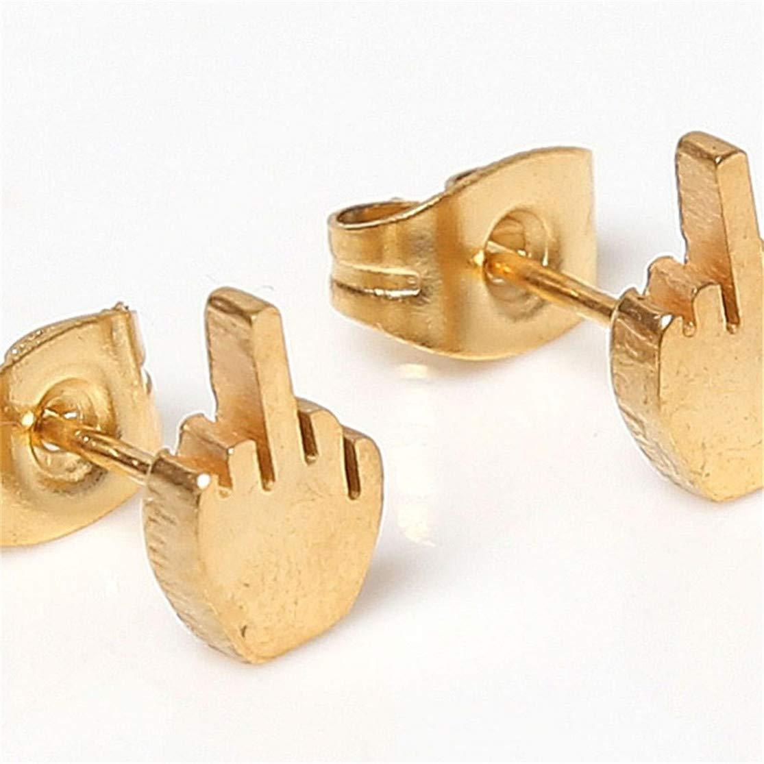 YUGEHLK Punk Stainless Steel Middle Finger Stud Barbell Ear Helix Cartilage Studs Bars Earring Piercing 1 pair black