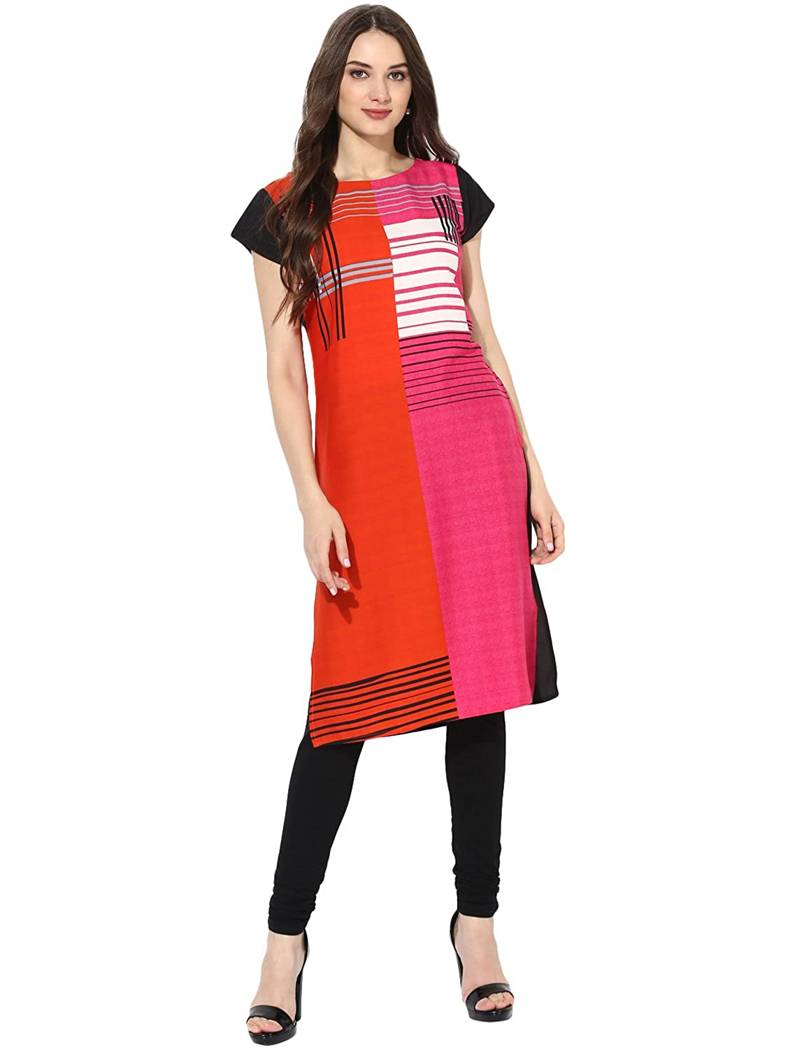 Vaamsi Women's Indian Tunic Top Crepe Kurti(PK1295_Multi-Coloured_Free Size)
