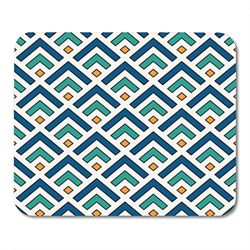 Semtomn Gaming Mouse Pad Repeated Chevrons Abstract Wallpaper Asian Traditional Ornament with Scallops Mountain 9.5