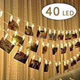 cuzile LED Photo Clip String Lights Battery Powered Picture Hangers Light with 40 Photo Clips Perfect for Hanging Pictures, Notes,Cards,Memos and Artwork
